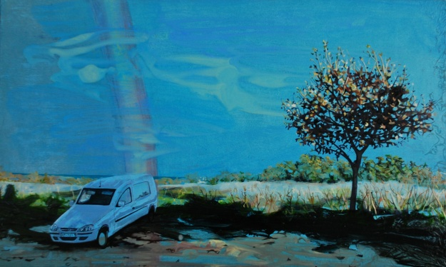 Van at Argeles-Sur-Mer, oil on board, 28 x 42cm, 2014