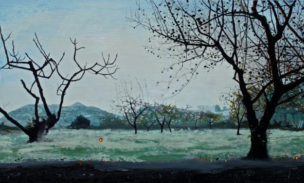 'Almond Trees', oil on board, 35 x 51 cm