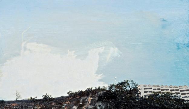 Sky Hotel, oil on board, 36 x 60 cm