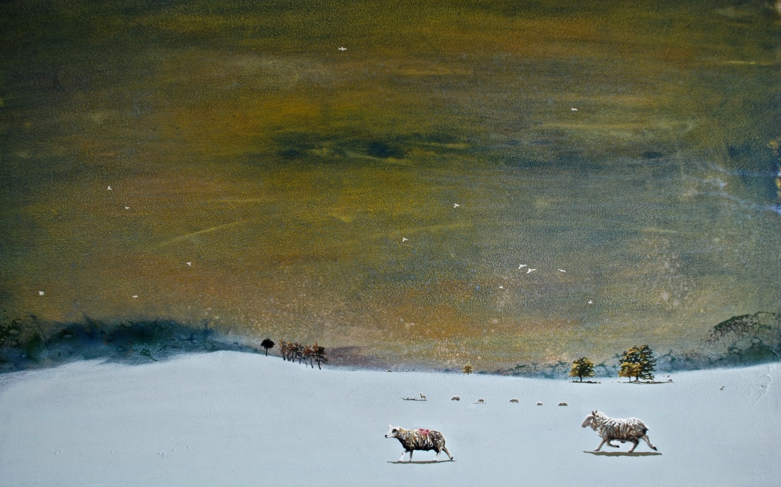 Sheep making their Way across the Curragh in the Snow, oil on board,