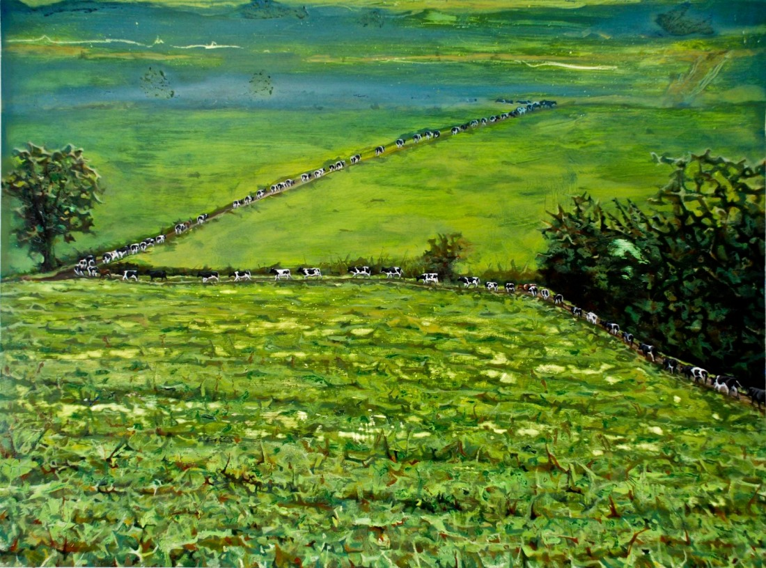 My Father's Cows making their Way back down to the Burn Field after Milking Time, oil on board, 60 x 80 cm
