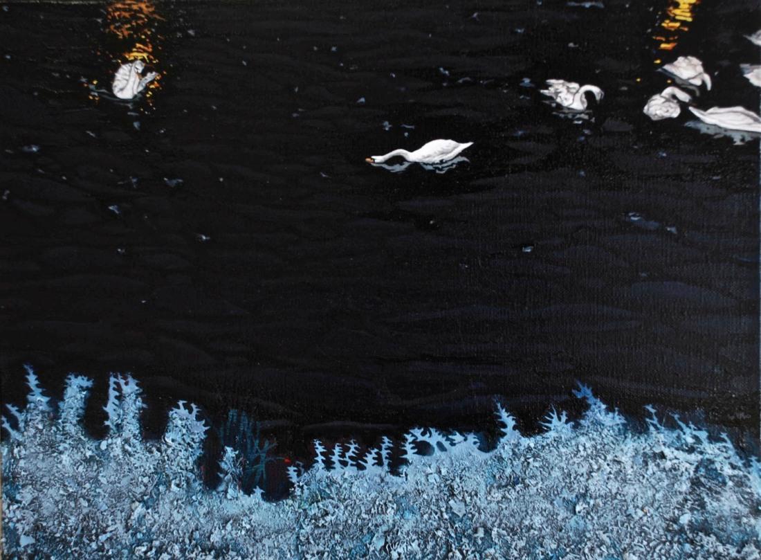 Night Swim, oil on linen, 28 x 25.7 cm