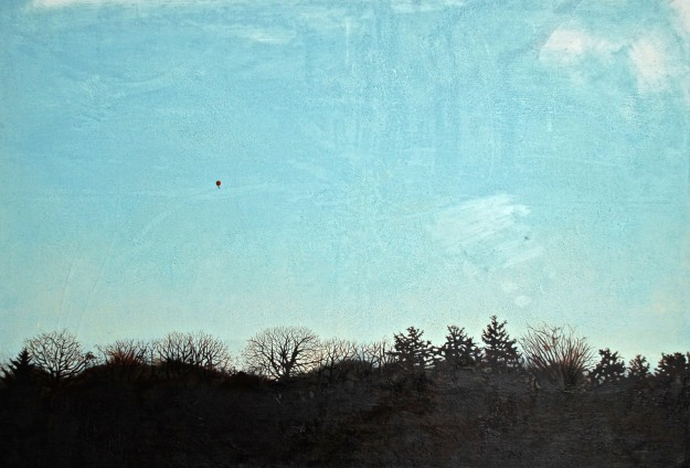 Red Balloon, oil on board, 35 x 51 cm