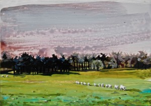 Sheep Making their Way across the Curragh, oil & inks on board 13 x 18 cm