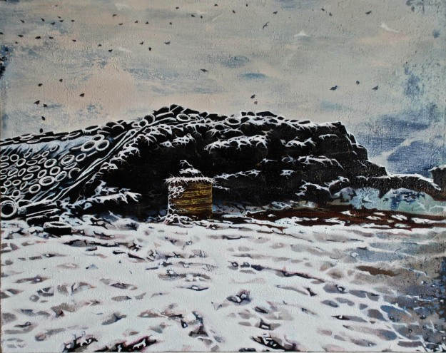 Silage Pit in the Snow, oil & mixed media on canvas, 41 x 51 cm