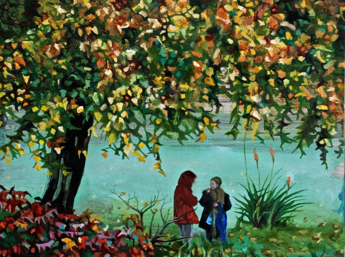 Two Women Talking under a Tree, oil on board, 15 x 20 cm