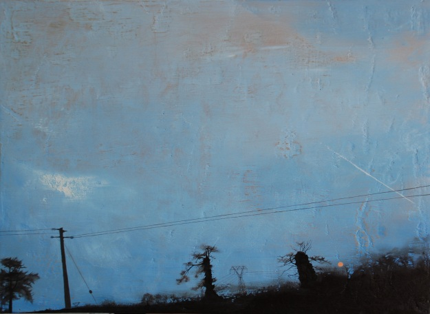 At Sunset Distance Smudge, Dublin to Donegal, oil on gessoed board,