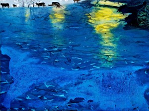 Mammals Reflecting Watery Past, oil on board, 18 x 24 cm