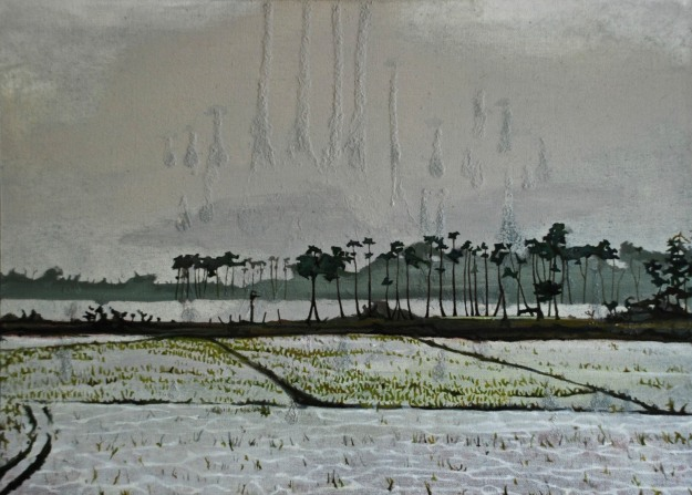 Rice Fields Forever in the Sky with Diamonds, oil on canvas, 37.2 x 51 cm