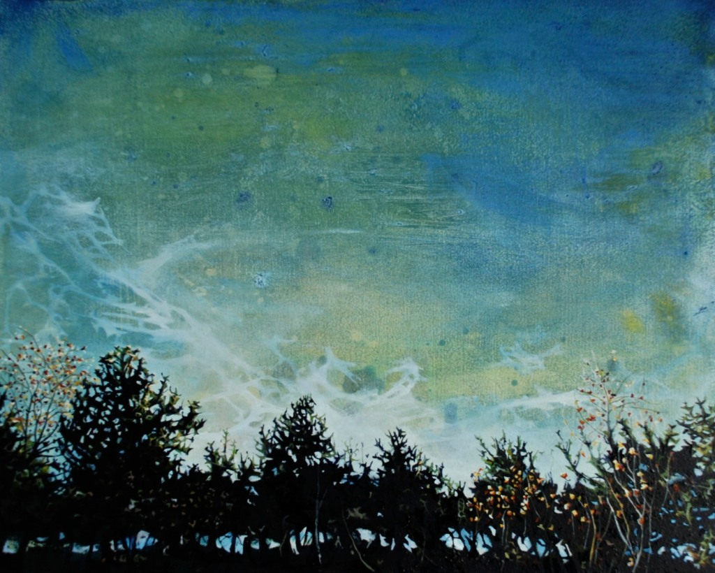 'Sky View Through a Hedge at Dusk, Pyrenees', oil on board, oil on board, 32 x 39 cm