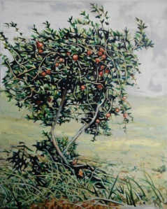 Pomegrante Tree, oil on panel, 15 x 20 cm, (Private Collection)