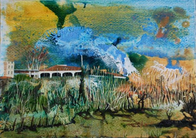 Argeles-Sur-Mer Train Station, oil on paper, 18 x 25.5 cm