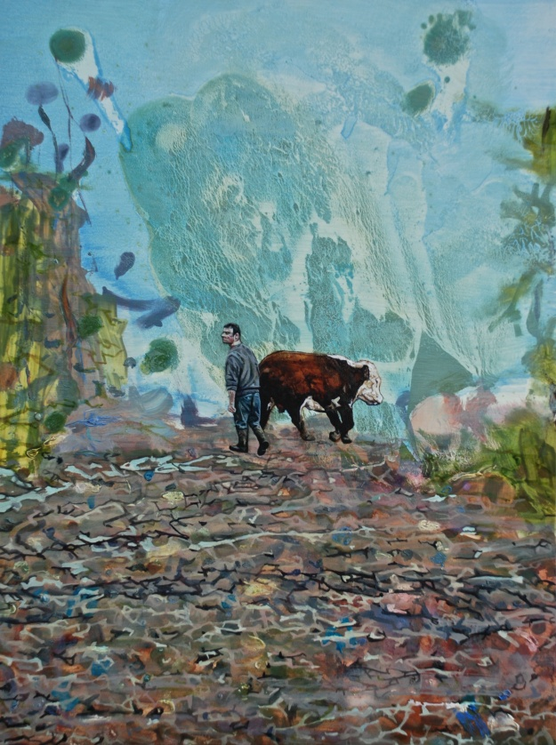 Derek Bringing the Bull Down the Oul Lane, oil on panel, 25 x 40 cm