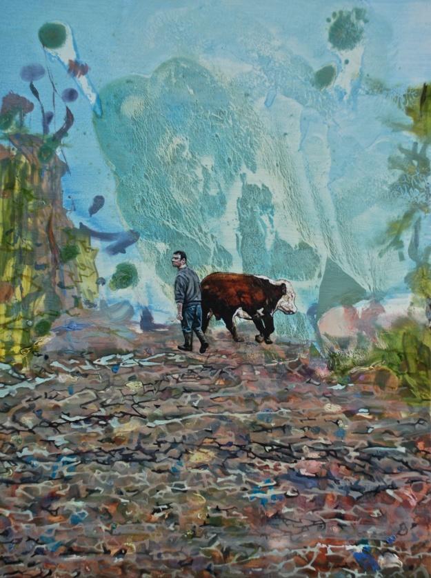 Derek Bringing the Bull Down the Oul Lane, oil on panel, 25 x 40 cm