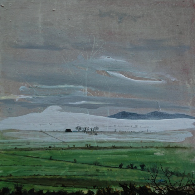Fog Down in the Burn Fields, oil on board, 25.5 x 25.5 cm
