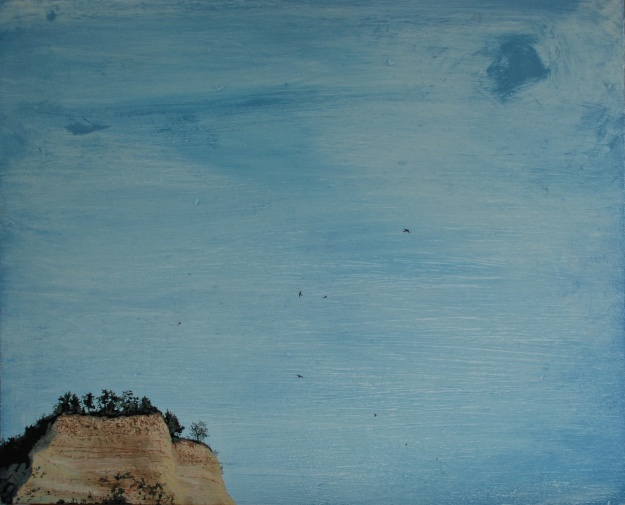 Layered Landscape in the Midst of Sky, oil on board, 30 x 42 cm