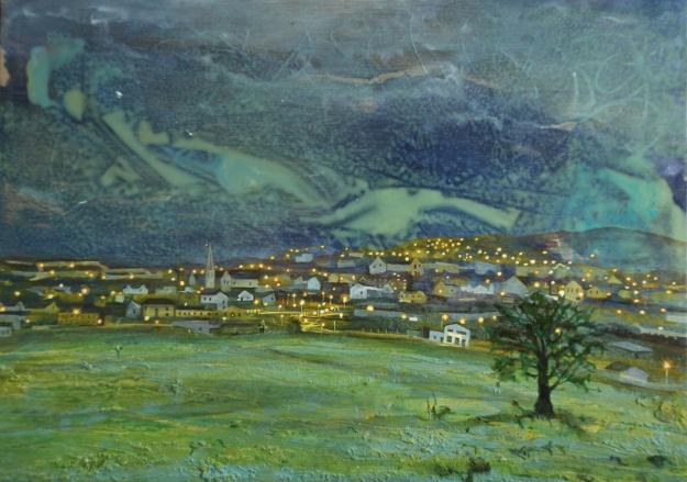 Man Walking Towards Letterkenny, oil on panel, 25 x 35 cm