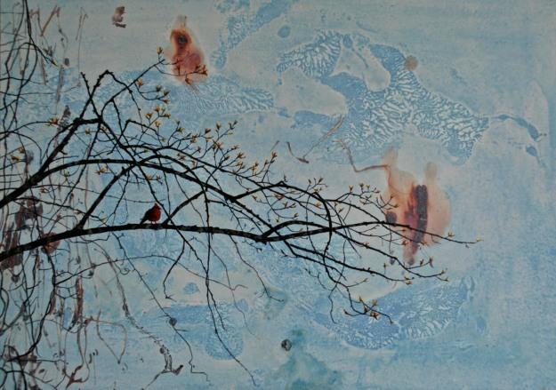 Cardinal, oil on panel, 25 x 35 cm