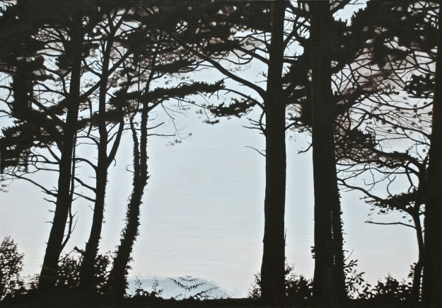Muckish Seen through the Austrian Pine, acrylic on board, 41 x 58 cm, (public collection)