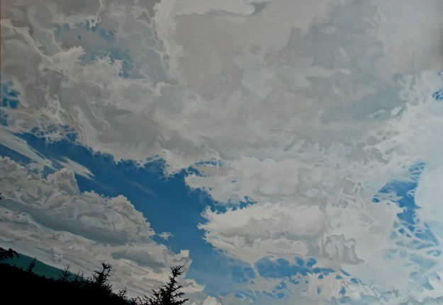 Sitka Spruce Sky, oil on board, 57 x 80 cm, (private collection)