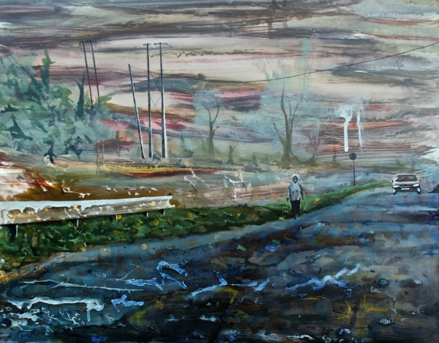 Woman Walking along the Canal, Monasterevin, oil on panel, 40 x 50 cm