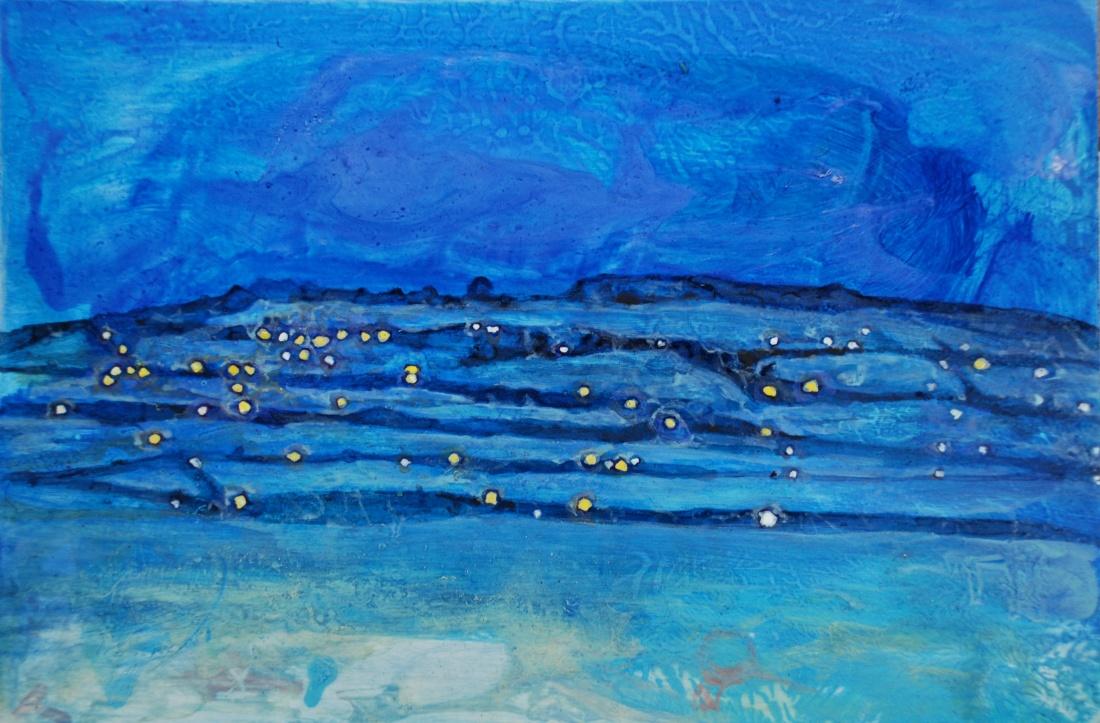 Dusk, the Blue Radiance of Snow, oil on panel, 20 x 30 cm