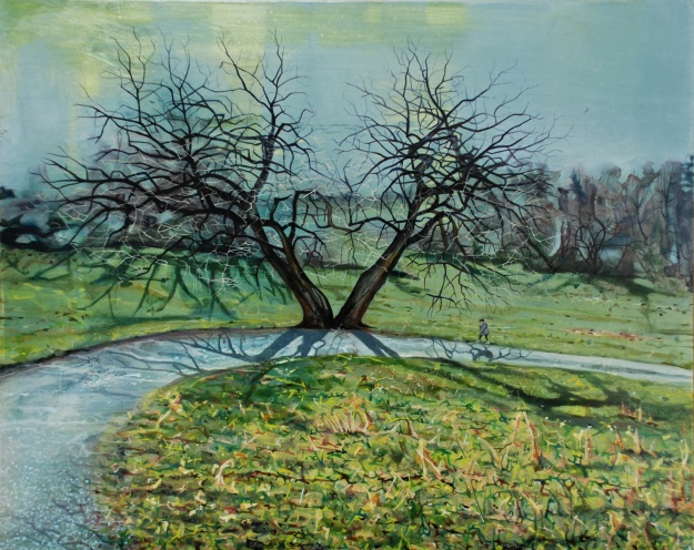 Poetess on a Curved Road, oil on board, 40 x 50 cm