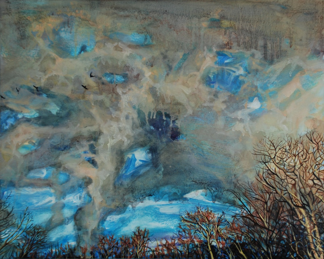 Storm Gathers, Downpour of Birds, oil on board, 40 x 50 cm