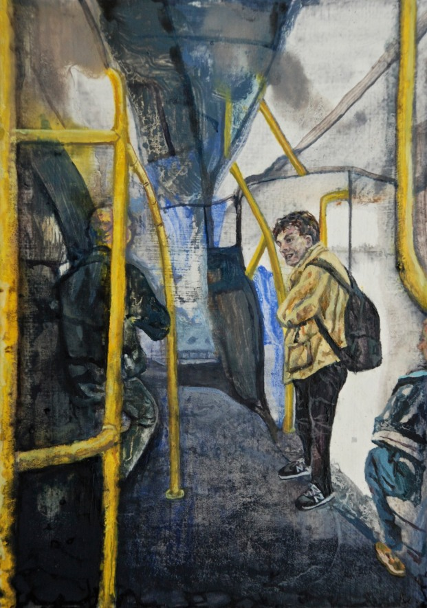 Conversation on Dublin Bus, oil on panel, 16.9 x 12 cm