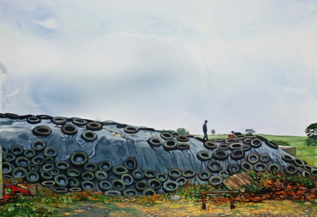 Derek and his Dog on top of the Silage Pit, oil on canvas, 70 x 100 cm