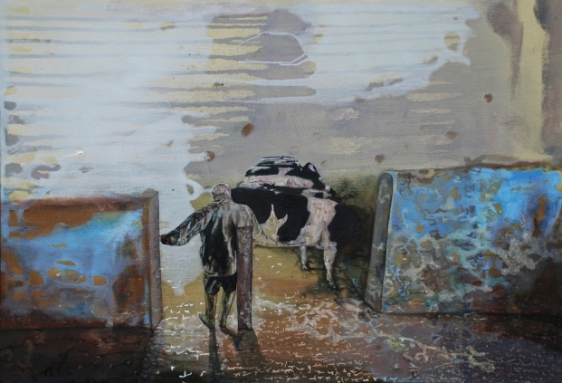 My Father in the Milking Parlour, oil on board, 55 x 80 cm