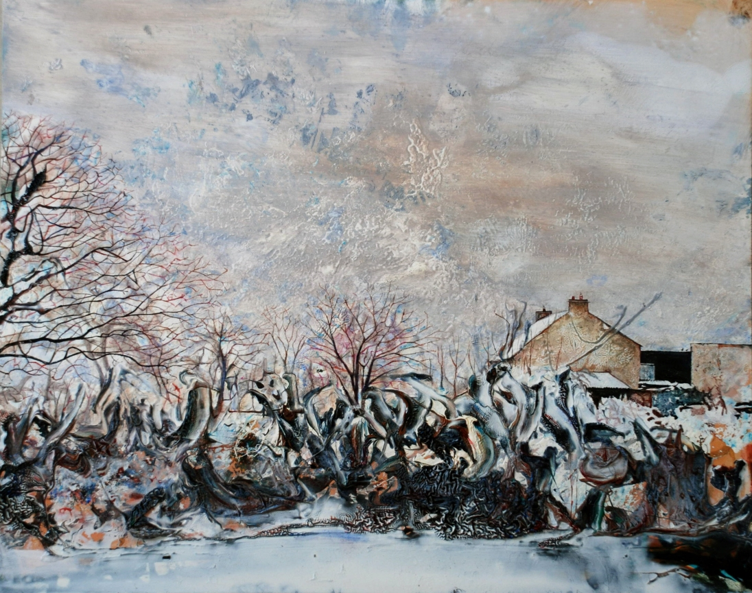 My Father's Farm in the Snow, oil on panel, 40 x 50 cm