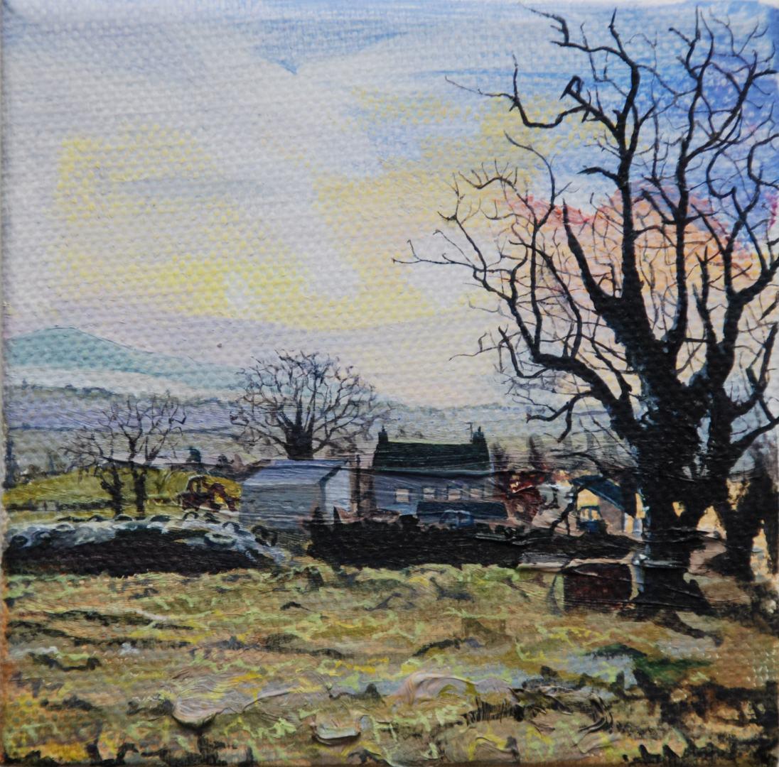 My Father's Farm, oil on canvas, 10 .5 x 10.3 cm