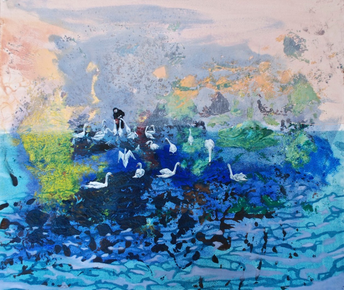 Sister Assumpta Feeding the Swans, oil on arches paper, 43.5 x 51 cm