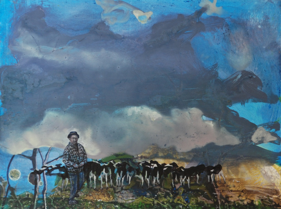 Thomas Feeding the Calves, oil on panel, 18 x 24 cm
